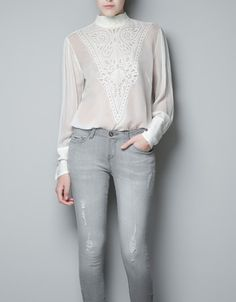 Zara - Embroidered Top With Lace Bib