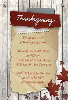 """""""Thanksgiving Wood And Leaves""""  printable invitation template. Customize, add text and photos. Print or download for free!"""