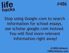 Find relevant information more quickly for your school essays with scholar.google.com