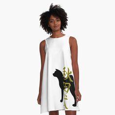 Akita inu with kanji A-Line Dress Designed by MariaUusivirta. Japanese Akita, Inu, Chiffon Tops, Designer Dresses, Silhouette, Tank Tops, Fabric, Clothes, Women