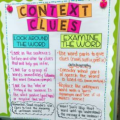 Context clues anchor charts for days! I love creating these anchor charts with students so that they are truly engaged in their learning! Ela Anchor Charts, Reading Anchor Charts, 4th Grade Ela, Sixth Grade, Grade 3, Reading Strategies, Reading Comprehension, Comprehension Strategies, Reading Skills