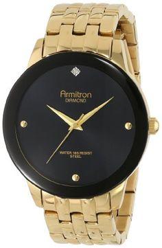 Armitron Herren 20/4952BKGP Diamond Dial Wall-to-Wall Crystal Gold-Tone Bracelet Armbanduhr