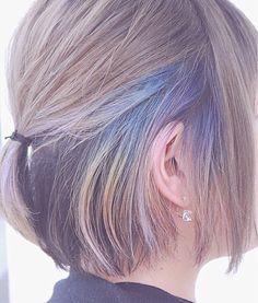 高田 ゆみこさんのヘアカタログ | 外国人風,グラデーション,ハイライト,ボブ,インナーカラー | 2016.04.28 09.44 - HAIR Ombre Hair, Pink Hair, Pretty Hairstyles, Braided Hairstyles, Short Blue Hair, Hair Color And Cut, Dye My Hair, Hair Art, Hair Today