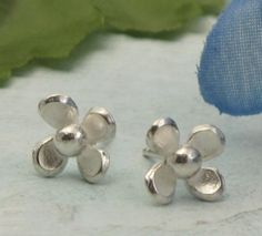 Tiny Flower Earrings  sterling silver post by KathrynRiechert, $26.00