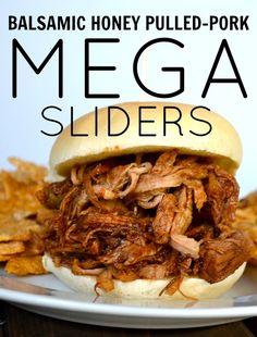 Balsamic Honey Pulled-Pork Mega Sliders from Rachel Schultz