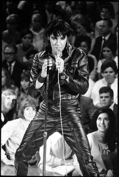 "Elvis...A Great Black & White Still From The Superb ""'68 Comeback Special""--One Of Elvis' Greatest Performances!!  This All Leather Suit Was Tight & Hot & Elvis, Uncharacteristically, Dieted and Worked Out For Months To Look Great On Camera...Boy, Did It Work...This Is The Elvis I Think Was Most Handsome...As If I Had To Choose...Miss Him!!"