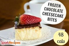 Frozen Chocolate Cheesecake Bites These creamy, bite-size desserts are made using ice cube trays!    NUTRITIONAL INFO  Calories: 37.5  Total Fat: 0.0g  Total Carbs: 6.7g  Dietary Fiber: 0.0mg  Protein: 2.0g