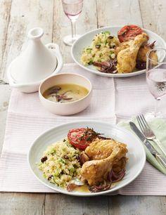 Hähnchenkeulen, Safrantomaten und Couscous Foto © Ulrike Holsten für ARD Buffet Magazin