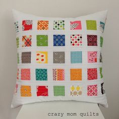 crazy mom quilts: contact print pillow (a tutorial) ~ A fun way to add some color! A perfect use for those cute little mini charms! Choose from a large selection of precuts and fabric at the Fabric Shack at http://www.fabricshack.com/cgi-bin/Store/store.cgi