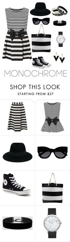 """LOL I DID ONE AGAIN! Properly this time "" by shaudipuddi ❤ liked on Polyvore featuring Lipsy, WearAll, Maison Michel, Karen Walker, Converse, Elwood and monochrome"