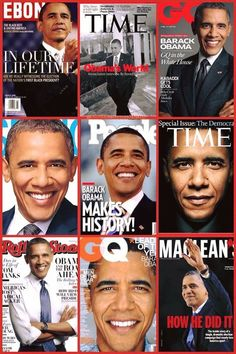 The Many Faces Of Our President Barack Obama On The Cover Of Several Mag..
