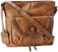 """Sale: $57.80    Jessica Simpson Emma JS5663 Cross Body   Color: Saddle        100% Polyurethane.     polyester lining.     zipper closure.     24"""" shoulder drop.     9"""" high.     9"""" wide.     Shoulder strap length: 52"""".      Shoulder strap is adjustable from 11"""" to 24"""".     Includes interior back wall zipper pocket and two interior multi-function pockets.     Two small exterior pockets."""