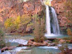 At the beautiful and colorful base of Havasu Falls in November 2002    Havasupai Indian Reservation / Grand Canyon / Coconino County, Arizona, USA