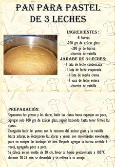 Pan para pastel de 3 leches: