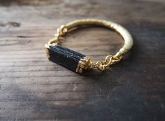 Raw Black Tourmaline Bracelet Matte Gold Chain Bracelet by ULUTIS