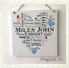 Personalised Christening Baptism Gift Typography Wooden Plaque Sign Keepsake Unique W29 MissyJulia Ltd. http://www.amazon.co.uk/dp/B00FM6NI3I/ref=cm_sw_r_pi_dp_XA32vb1E46RRY
