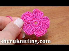 Crochet Simple Five-Petal Flat Flower Tutorial 28 Part 1 of 2 Crochet Fiore - YouTube