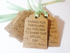 x10 Personalised favour tags available with any wording. They are roughly 7.5cm in size and can be printed on high quality 300gsm white, ivory or brown kraft card. You can also choose between satin ribbon or brown twine for the tags. Examples include-- Thank you for sharing our first meal as Mr and Mrs... Thank you for travelling all this way.... Thank you for sharing our special day... I just need details of your colour scheme and the wording you would like and please specify what colour…