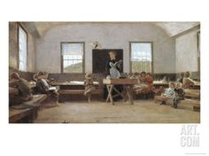 Winslow Homer The Country School (A Country School-room in the Catskills, New England Country School) - 1871 Norman Rockwell, Winslow Homer Paintings, Kindergarten, Country School, Country Life, School Painting, Blue Boat, Boat Art, Vintage School