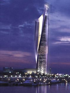 Loooook at this building!! Its the new Al Hamra Firdous Tower in Kuwait.  Jaw. dropping.