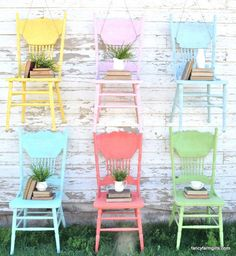 Spring Paint Colors! These can be a bit time consuming to paint with all their spindles and legs, so we're going the easy route with spray paint. Quick and efficient is the name of the game. @allthingsthrift shares the tutorial on some spring fun! http://www.rustoleum.com/product-catalog/consumer-brands/painters-touch-ultra-cover-2x