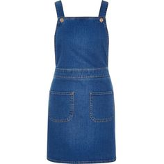 River Island Bright blue denim overall pinafore dress ($76) ❤ liked on Polyvore featuring dresses, blue, overalls, rompers/ jumpsuits, women and river island