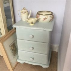 1990's pine bedside table updated