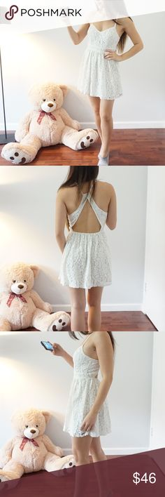 LWD lace Backless white dress Abercrombie & Fitch Dresses Mini