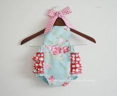 Darla Blue Retro Style Sunsuit Romper by xxLittleBoatsxx