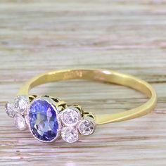 Art Deco 0.65 Carat Sapphire & Eight-Cut Diamond Ring, circa 1930 by GatsbyJewels on Etsy