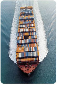 Cargo shipping container ship on ocean going to the next port. Container Transport, Oil Tanker, Merchant Marine, Great Lakes, Aerial Photography, Water Crafts, Weekender, Transportation, Cruise