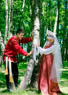 A bride and a groom in the Russian national style. #bride #dress #Russian #weddings
