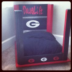 But not the nasty Georgia stuff.only Buckeyes for my girl! Georgia Bulldogs Football, Carolina Panthers Football, Football Love, Football Baby, Diy Dog Bed, Dog Beds, Georgia Girls, How To Make Bed, Fur Babies