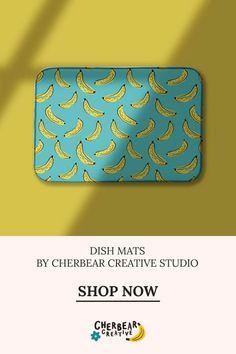 Bananas Dish Mat by Cherbear Creative Studio Design Textile, Fabric Design, Pattern Design, Sarah Walker, Bandana Bow, Textiles, Eco Friendly House, Etsy Business, Keep An Eye On