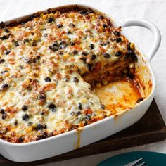 Woman's Day Mexican Black Bean Lasagna. Meatless, wheatless and only 308 calories per serving.