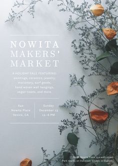 Layout, maybe for cover or first page - we don't have a lot of photos that would work in this format for pricing pages, but we like keeping it clean and simple. Nowita Makers' Market / Allison Kunath x Paper & Type