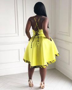 A stunning yellow midi dress featuring Ankara hem. African Fashion Ankara, Ghanaian Fashion, Latest African Fashion Dresses, African Print Dresses, African Print Fashion, African Dress, African Attire, African Wear, Chic Outfits