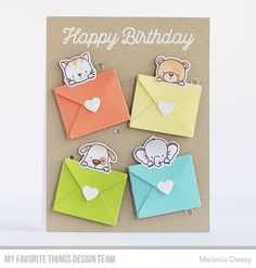 Hi all! Today I want to share my card for My Favorite Things  June Card Kit Countdown Day 1. Sending Birthday Wishes is so gorgeous! This ca...