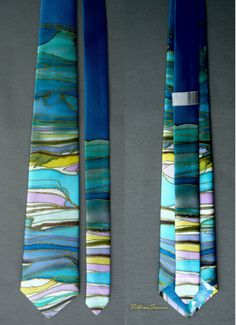 Mens Silk Tie Fathers Gift Mens Necktie Abstract Lines Wedding Tie Mens Gifts for him Hand Painted Tie Men Tie Handpainted Tie Silk Necktie This Mens Tie is made of 100% natural SILK SATIN - Hand Painted and Handmade. Its one of a kind artist necktie - unique gifts for men An elegant Art mens necktie handpainted - abstract silk painted lines and color effects with old gold color contour. Navy background. This hand-painted tie could be a great gift for your friend, father, brother for his ...