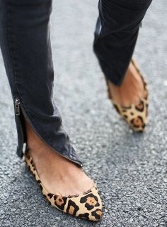 leopard print flats and zippers