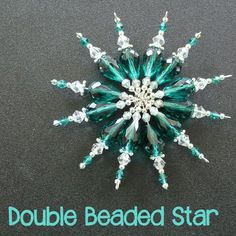 Double Beaded Star Tutorial Double Beaded Star Tutorial another Christmas beaded ornament that can be customised to match your colour scheme step by step tutorial Diy Christmas Snowflakes, Snowflake Decorations, Beaded Christmas Ornaments, Handmade Ornaments, Christmas Angels, Snowflake Ornaments, Christmas Star, Crochet Christmas, Beaded Ornament Covers