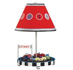 Vroom Vroom Vrooooom!  Inspire child with a vintage 50�s racetrack from AnnaBean�s Retro Racers Furniture collection.  These detailed hand-painted cars provide an interactive lamp that spin around the lamp base.  In addition to providing a whimsical accessory to child�s car themed room, this kids lamp will provide endless entertainment to see who crosses the line first!