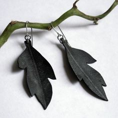 Leaf Earrings - upcycled bicycle inner tube jewelry - eco jewelry. $16.00, via Etsy.