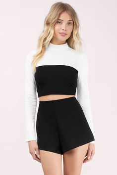 Step it up in the Adelaide Crop Top. This color blocked long sleeve crop is made from stretchy knit fabric and is the perfect centerpiece for a killer - Fast & Free Shipping For Orders over $50 - Free Returns within 30 days!
