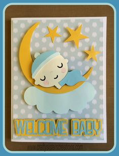 Welcome Baby card from Baby Steps Cricut cartridge. www.craftysisterscreations.com