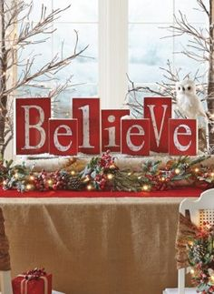 Bring the magic of the holidays into your home with the indoor Christmas decorations at Grandin Road. Find beautiful Christmas home décor online today. Christmas Blocks, Christmas Mantels, Christmas Love, Christmas Signs, Country Christmas, Winter Christmas, Christmas Crafts, Merry Christmas, Christmas Ideas