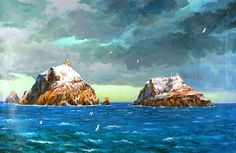 (North Korea) Dokdo island in the East sea by Jang Young-hwan (1946-  ). Chinese Korean. 장영환.