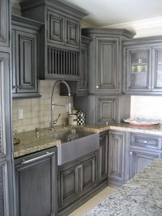 gray kitchen cabinets No credit card required distressed kitchen cabinet Distressed Kitchen Cabinets, Glazed Kitchen Cabinets, Kitchen Cabinet Colors, Painting Kitchen Cabinets, Kitchen Redo, Kitchen Styling, Gray Stained Cabinets, Bathroom Cabinets, Unfinished Cabinets