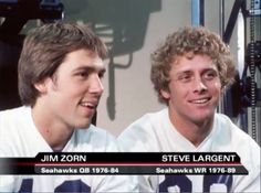 A pair of Seattle Seahawks legends. Jim Zorn and Steve Largent ! they look like babies! Nfl Football Players, Best Football Team, Football Stuff, Seahawks Football, Seattle Seahawks, Nfl Fans, 12th Man, Home Team, Number 12
