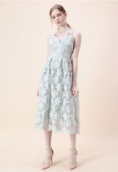 Ebullience of Flowers Crochet Cami Dress in Mint